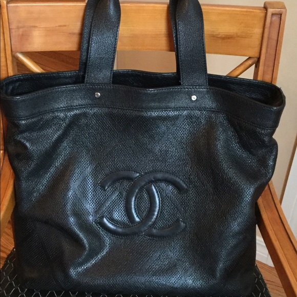 db2476b30c5d CHANEL Handbags - SALE!!20% OFF.CHANEL Black perforated leather tote